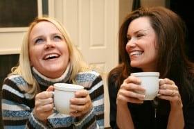Friends share a coffee