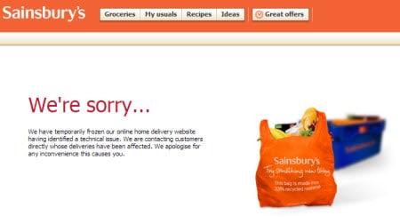 Sainsbury web site closed