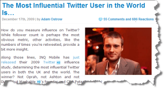 The most influential person on Twitter is Pete Cashmore