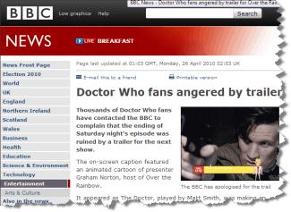 Graham Norton cartoon annoys Dr Who fans
