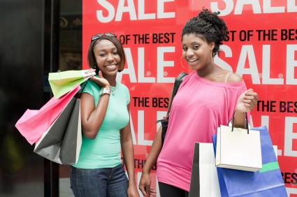 Happy shoppers enjoy a day out together