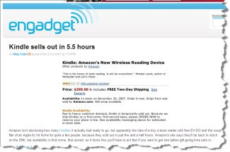 "Being ""sold out"" clearly did no harm to Amazon's Kindle"