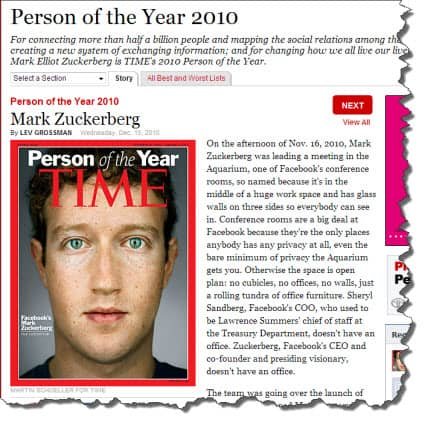Mark Zuckerberg, Time Person of the Year 2010