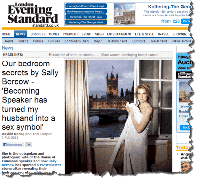 Sally Bercow in the Evening Standard