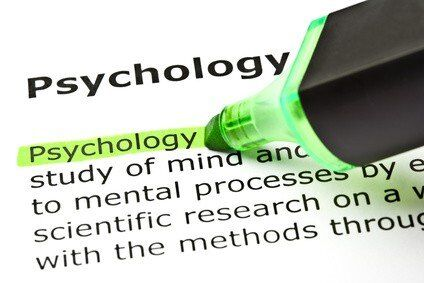 The word 'Psychology' highlighted in green with felt tip pen