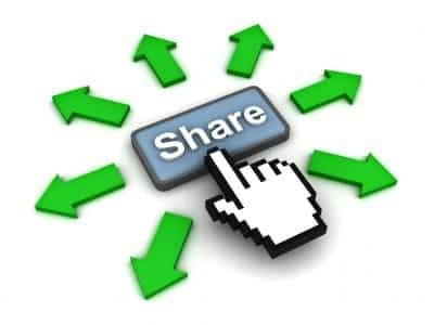 Image of finger pressing a share button
