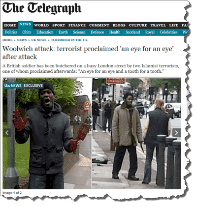 News coverage of the attack in Woolwich
