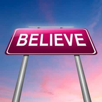 Illustration depicting a sign with a believe concept.