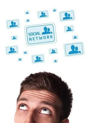 Young persons head looking with gesture at social type of icons and signs