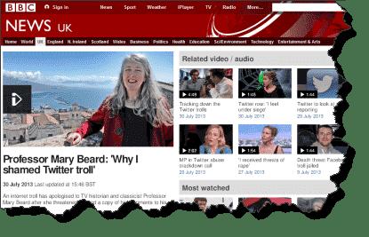 Screenshot of BBC News item on Mary Beard