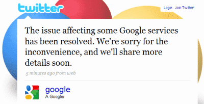 Picture of Tweet showing Google apology