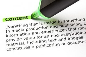 The word CONTENT highlighted in green with felt tip pen