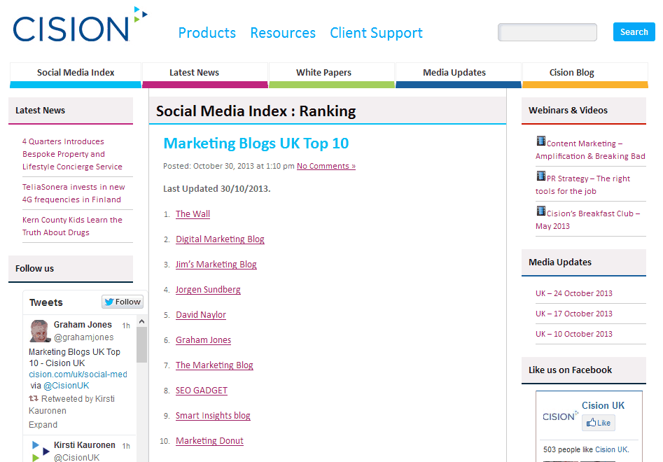 Screen shot of Cision