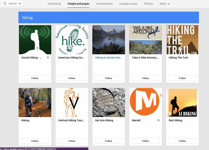 Screen shot of Google+ circles