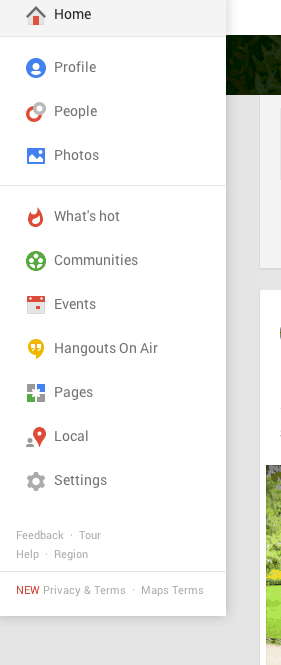 Screen Shot of Google+ Menu