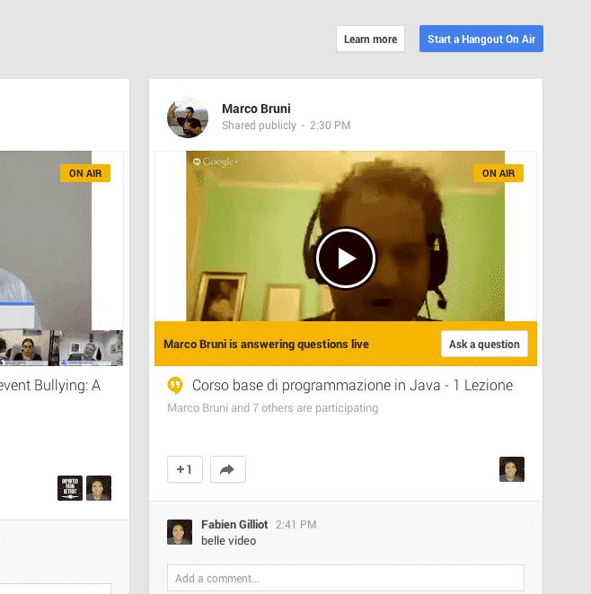 Screen Shot of Google Hangour