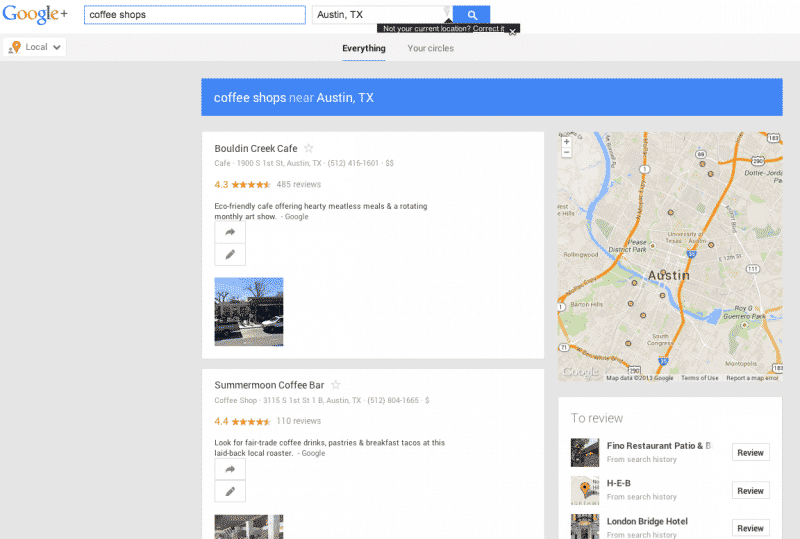 Screen shot of Google+ Local