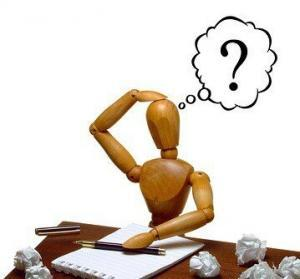 Puzzled writer searching for ideas