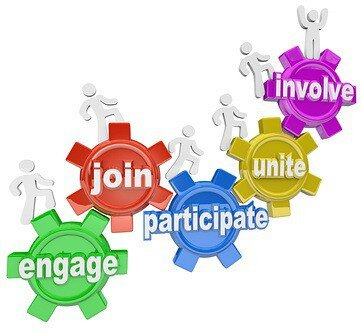 A team of people marching up gears with words Engage, Join, Participate, Unite and Involve to illustrate teamwork and reaching new heights together