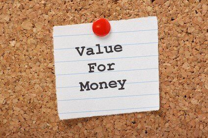Value For Money paper note on a cork notice board