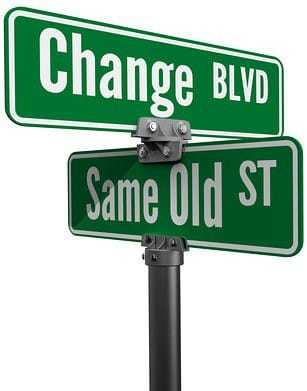 Street signs decide on same old way or change choose new