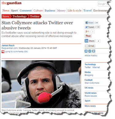 Stan Collymore in The Guardian Newspaper