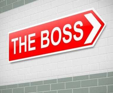 Illustration depicting a sign directing to The Boss.