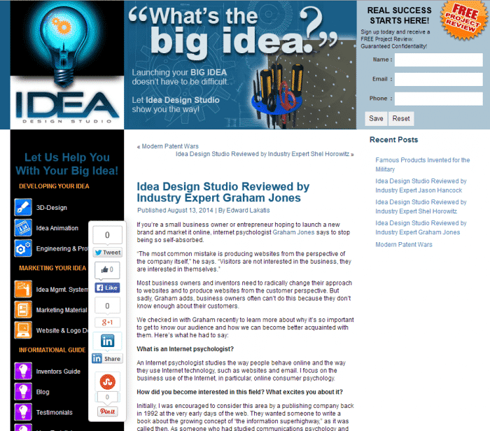 Screenshot of Idea Design Studio