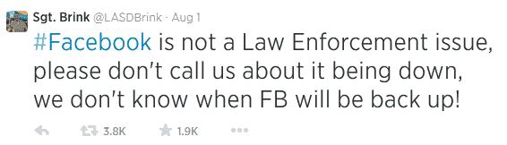 Tweet from Los Angeles Sheriff