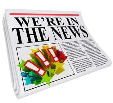 A 3D newspaper with headline reading We're in the News to show that you have been featured in an article to give you great public relations attention and exposure