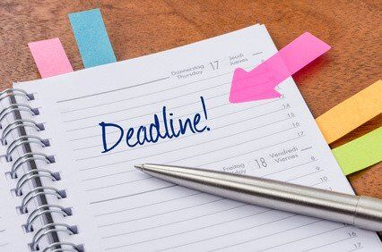 Diary with deadline marked