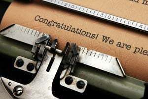 Congratulations being typed
