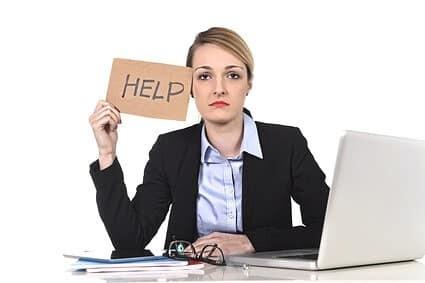 Stress businesswoman