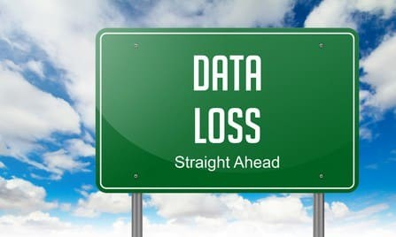Sign showing the words data loss