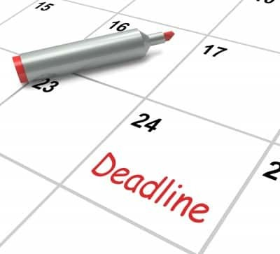 Calendar showing deadline