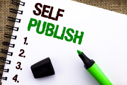 Text sign showing Self Publish. Conceptual photo Publication Write Journalism Manuscript Article Facts written on Notebook Book on the jute background Marker next to it.