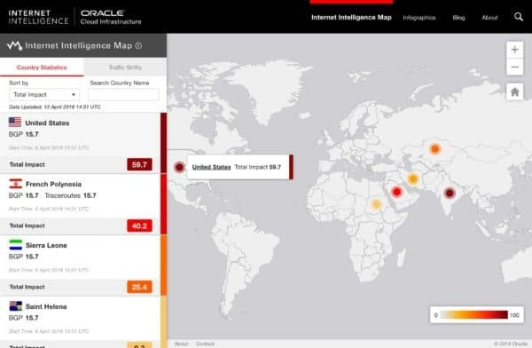 Oracle Launches Internet Intelligence Map Providing a Unique View into the Global Internet 1