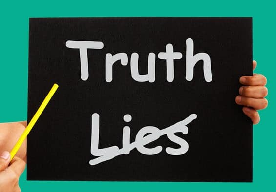 Truth and lies on chalkboard