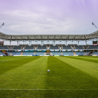 Empty football stadium with no supporters